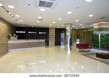 lobby in modern building - stock photo