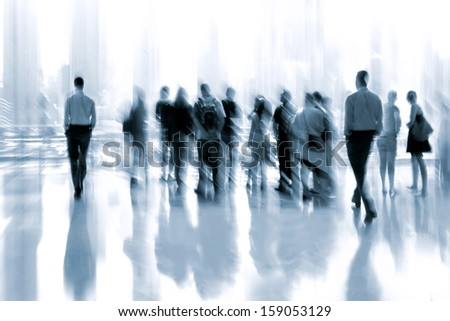 lobby in the rush hour is made in the manner of blur and a blue tonality