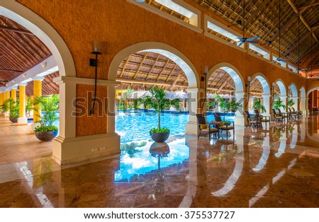 Lobby of the  luxury caribbean, tropical hotel, resort. Reception area. Interior design.