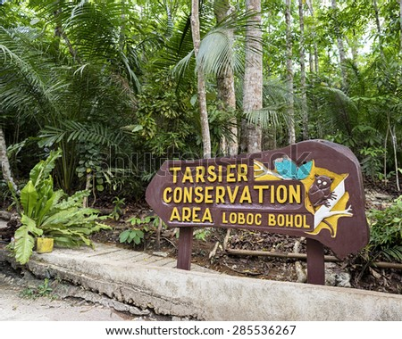 Loboc Town,  Bohol, Philippine Islands - May 29, 2015: Entrance sign  at the Tarsier Conservation Area in Lobol, Bohol Island.