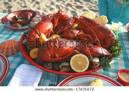 Lobster and Clambake - stock photo