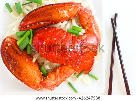 Lobster and noodles - stock photo