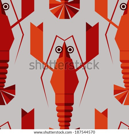 Lobster background. Animal pattern. Seafood background. Seamless vintage pattern with geometric lobsters. Can be used for restaurant menu. Raster version of vector - stock photo