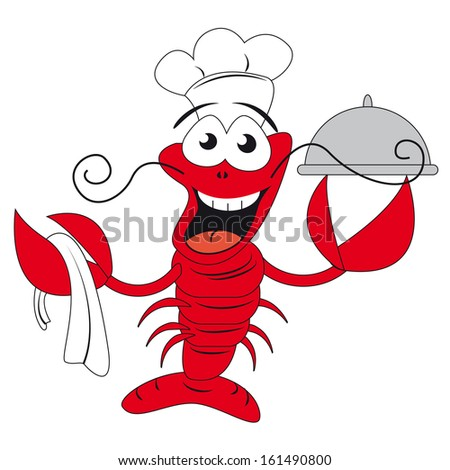 Lobster chef holding a plate - funny illustration - raster version of EPS ID 160069973 - stock photo