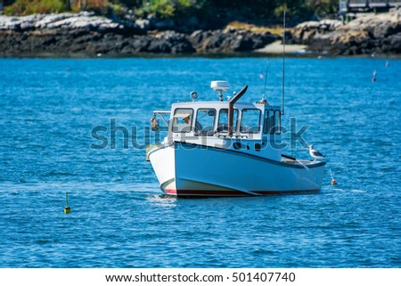 Lobster boat stock images royalty free images vectors for Lobster fishing in maine