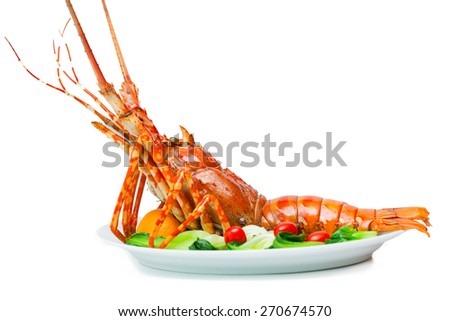 Lobster on plate white background. - stock photo