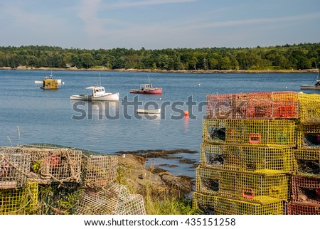 Lobster Pots and fishing boats in Broad Cove Harbor -- coastal Maine
