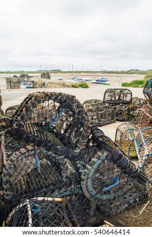 Lobster pots at Beadnell, Northumberland,