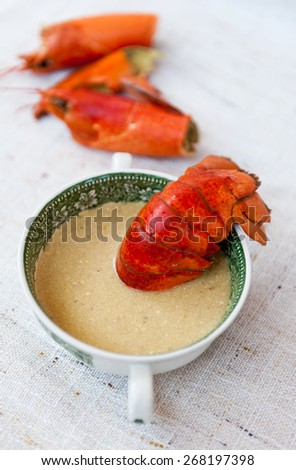 Lobster soup - stock photo