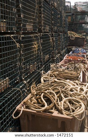 Lobster traps - a scene taken on the waterfront wharfs in Portland, Maine. - stock photo