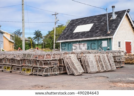 Lobster traps and fishing shed in the village of North Rustico, Edward Island, Canada