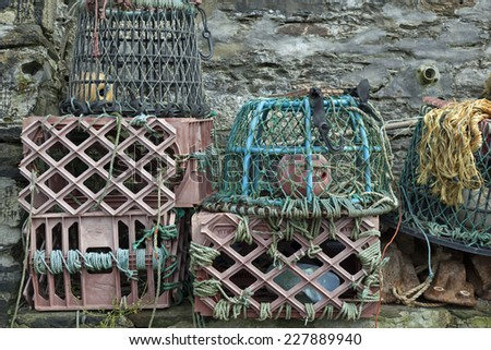 Lobster traps in the harbour of Mevagissey, England - stock photo