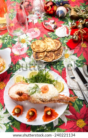 lobster with mayonnaise and jelly - stock photo