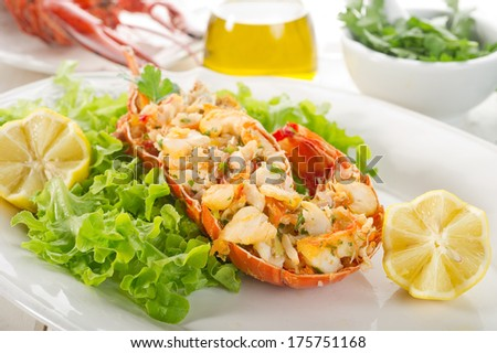 lobster with salad - stock photo