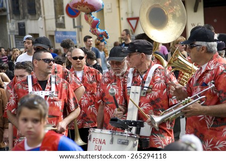 local band at a traditional parade in the village of Murveilles,Languedoc, southern France.taken 15/09/2008
