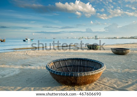 Local boat made from big basket at Danang,Vietnam