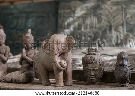 Local crafts of Cambodia handmade wood carved   - stock photo