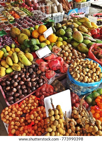 Local fruits at street market in Malaysia.