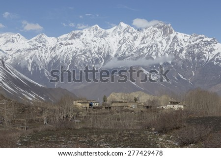 Local houses at Muktinath village in lower Mustang district, Nepal. This photo was shot in early morning. Area was cover by snow.