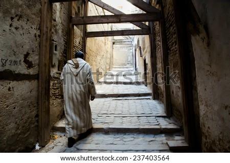Local in a Medina - Fez - Morocco - stock photo