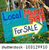 Local Maple Syrup for Sale - Colorful roadside handmade sign in Vermont - stock photo