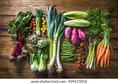 Local market fresh vegetable, garden produce, clean eating and dieting concept - stock photo