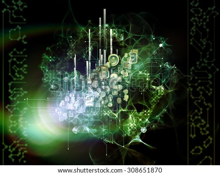 Local Network series. Arrangement of numbers, lights and fractals on the subject of science, math and technology