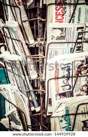 Local newspaper headlines - stock photo