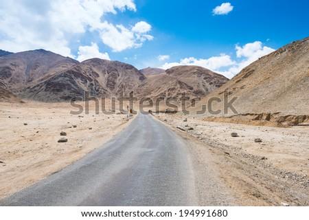 Local road and Mountain range in Leh, Ladakh, India  - stock photo