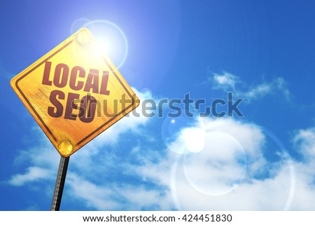 local seo, 3D rendering, a yellow road sign - stock photo