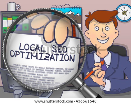 Local SEO Optimization. Business Man Shows Paper with Inscription through Magnifying Glass. Colored Modern Line Illustration in Doodle Style. - stock photo