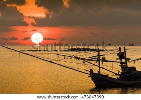 Local Thai fishing boat on sea