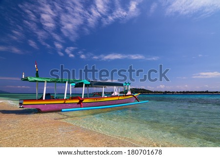 Local Traditional boat. Gili Meno, Lombok, Indonesia - stock photo