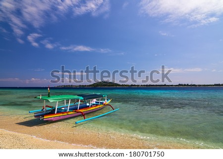 Local Traditional boat. Gili Meno, Lombok, Indonesia