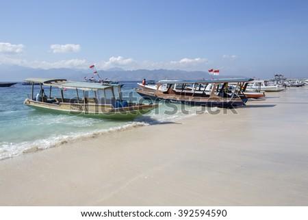 Local Traditional boat. Gili Meno, Lombok, Indonesia  - stock photo