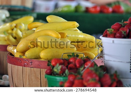 Locally grown produce for sale at the Raleigh Farmers market in North Carolina - stock photo