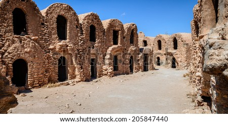 "Located about twenty kilometers from the Sahara, Ksar Haddada is one of the scenes of the movie ""Star Wars, Episode I: The Phantom Menace."" - stock photo"