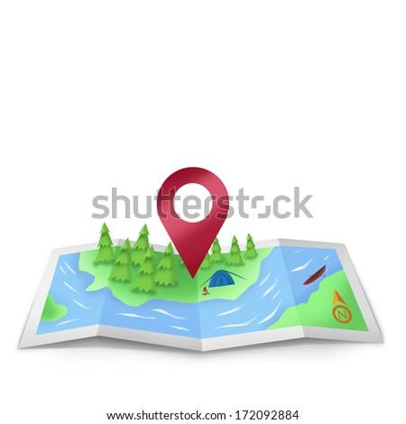 Location Icon on foldable map illustration - stock photo