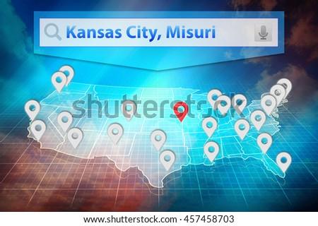 Location Kansas City On The Us Map Text Kansas City Missouri In