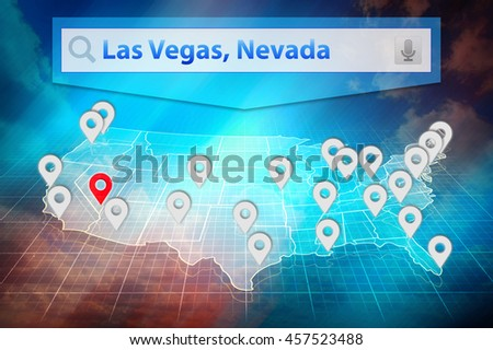 Location Las Vegas City On The Us Map Text Las Vegas Nevada