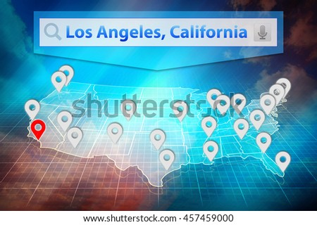 Location Los Angeles City On The Us Map Text Los Angeles California