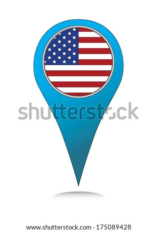 Location marker with USA flag design. Abstract blue map locator with united states flag. - stock photo