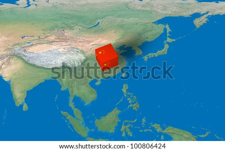Location of China over the map - stock photo