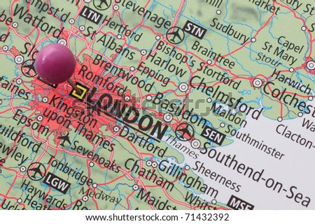 Location of London on a map with a pin - stock photo