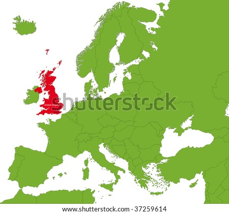 Location of the United Kingdom on the Europa continent