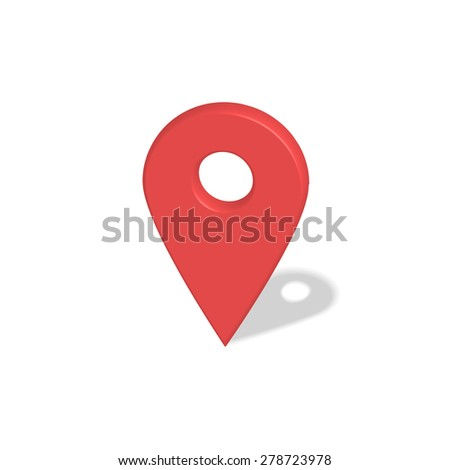 Location red pointer 3d symbol with shadow isolated on white  - stock photo