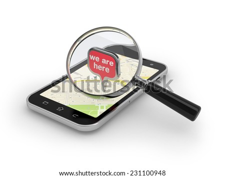 Location searching. Magnifying glass over smartphone on white. - stock photo