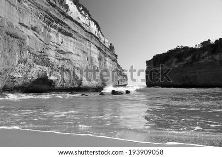 Loch Ard Gorge on the Great Ocean Road, Australia, near the Twelve Apostles - stock photo