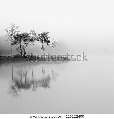 Loch Ard trees in the mist reflecting on the water - stock photo