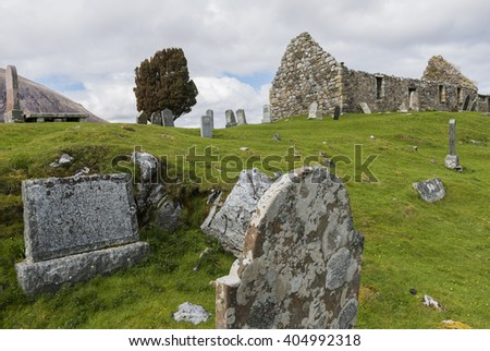 Loch Cill Chriosd, Scotland - May 7, 2015: Graveyard with chapel and gravestones near Loch Cill Chriosd in the Highlands of Scotland.